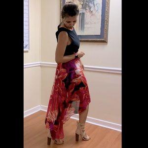 Kensie Hi-Lo floral tropical dress chiffon 10 new